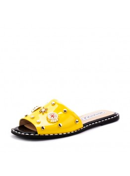 Пантолеты женские Eletra AMEL-138_52-50-3/L лето нат. лак. кожа желтый